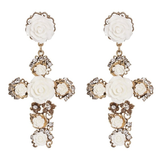 Jewelry - Rose Cross Earrings White Crystal Rosary Baroque